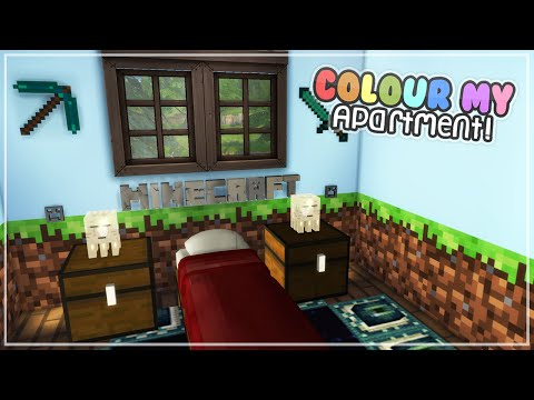 Minecraft Bedroom! ✧ The Sims 4 Speed Build - Colour My Apartment! (#7)