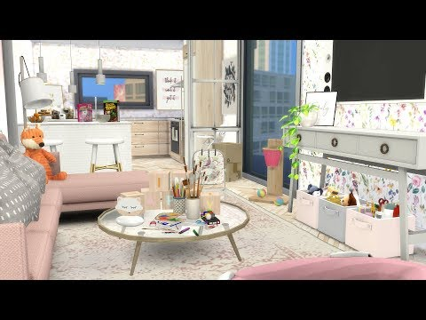 GIRL MOM APARTMENT   The Sims 4   CC Speed Build